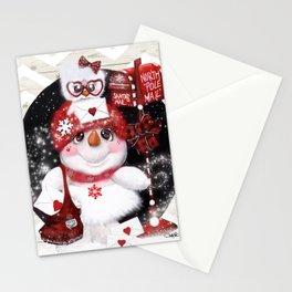 Santa Letter Delivery Snowman by Sheena Pike Stationery Cards