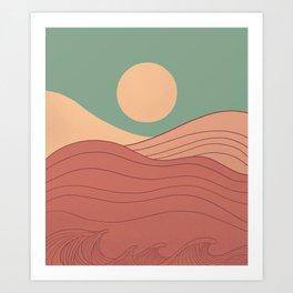 Abstract landscapes vintage sunset colour Sunrise Art Print
