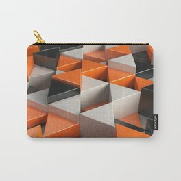Pattern of black, white and orange triangle prisms Carry-All Pouch
