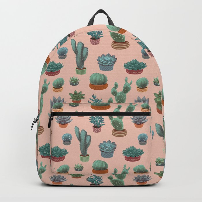 Potted Cacti and Succulents on Sahara Rose background. Backpack