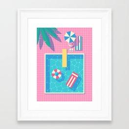 Retro 80s Swimming Pool Framed Art Print