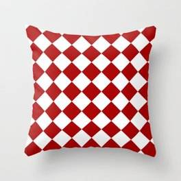 Red and white square pattern Throw Pillow