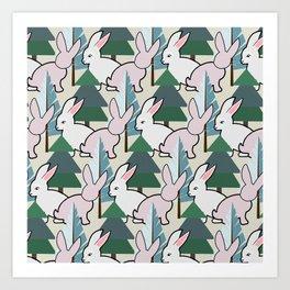 Bunnies and Trees 2 (Cute Buns) Art Print