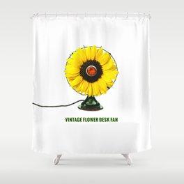 ORGANIC INVENTIONS SERIES: Vintage Flower Desk Fan Shower Curtain