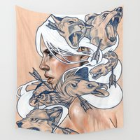american Wall Tapestries featuring The Hunt by Wendy Ortiz