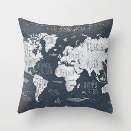 World Map / Rusty Throw Pillow