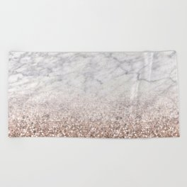 Bold ombre rose gold glitter - white marble Beach Towel