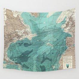 Vintage Green Transatlantic Mapping Wall Tapestry