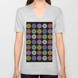 Pastel Flowers Pattern (On Black) Unisex V-Neck