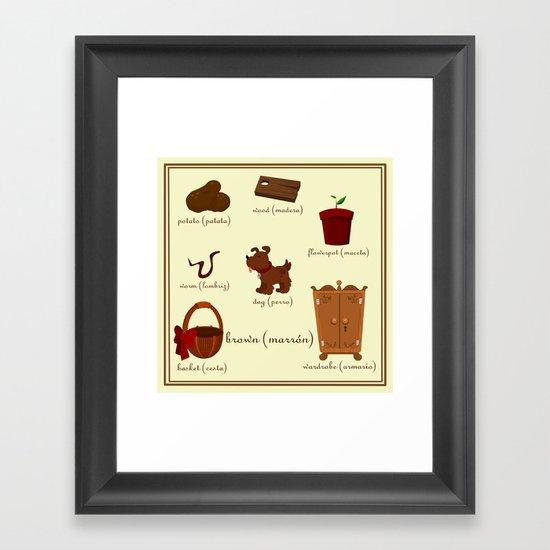 Colors: brown (Los colores: marrón) Framed Art Print