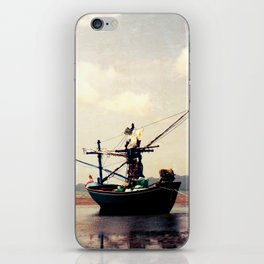 stranded fishing boat, thailand iPhone Skin