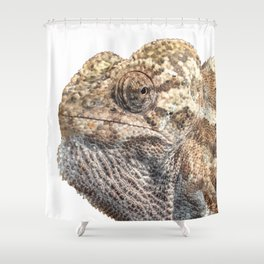 Chameleon With Sinister Facial Expression Isolated Shower Curtain