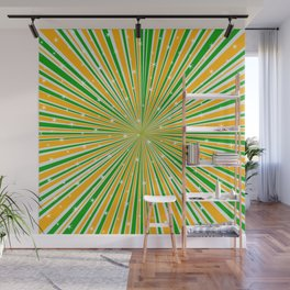 Green Orange And White And Rays Background With Stars Wall Mural