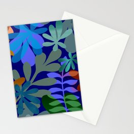 Blue tropical leaves Stationery Cards