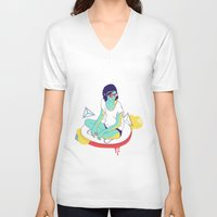 spaceship V-neck T-shirts featuring Spaceship by Eugenia Perez