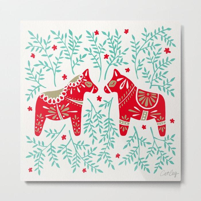 Swedish Dala Horses – Red & Mint Palette Metal Print