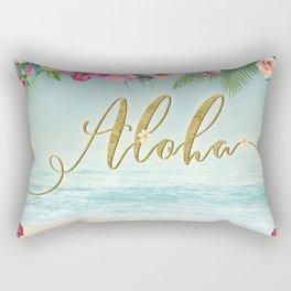 Golden Aloha Rectangular Pillow