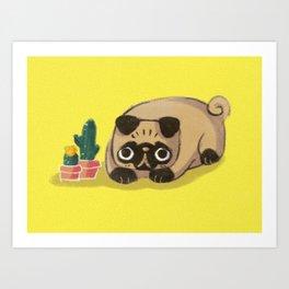 Pug & Cactus Art Print