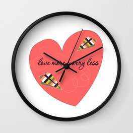 Love More Worry Less Multicolor Art Print Home Decor Room Furnishing Contemporary Wall Design  Wall Clock
