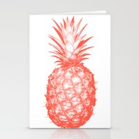pinapple Stationery Cards featuring Coral Pineapple by CumulusFactory