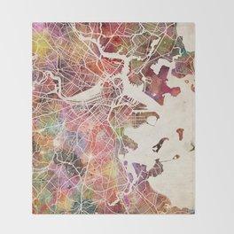 Boston map Throw Blanket