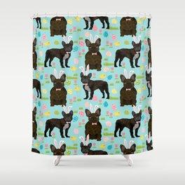 French Bulldog brindle coat easter spring dog costume custom pet portraits Shower Curtain