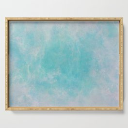Blue green and grey watercolor paint Serving Tray