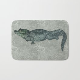 Blue & Green Crocodile Siamese Twins on Sage Green Rock Bath Mat
