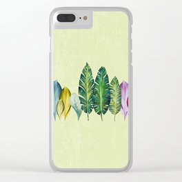 WATERCOLOR LEAVES LINE Clear iPhone Case