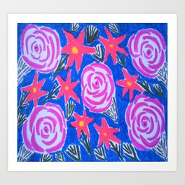 Classic Pink and Blue Floral Art Print