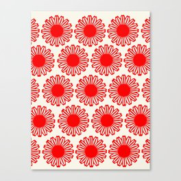 vintage flowers red Canvas Print