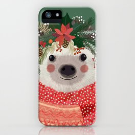 Hedgehog with Christmas Flowers iPhone Case