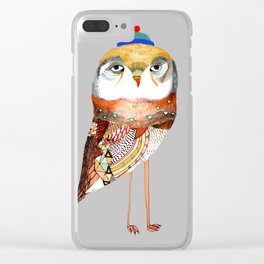 Hat Owl. Clear iPhone Case