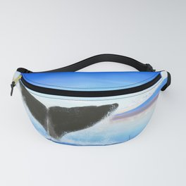 Whale tail on ocean with an island Fanny Pack