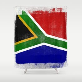 South African Distressed Halftone Denim Flag Shower Curtain