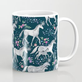 Unicorns and Stars on Dark Teal Coffee Mug