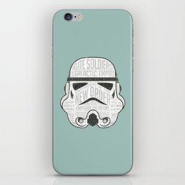 Stormtrooper typographic helmet chock full of trivia! iPhone Skin