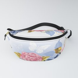 Pink Roses and Blue Butterflies Fanny Pack