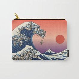 The Great Wave of Pug Red Carry-All Pouch