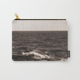 Two Vintage Retro Sepia Toned Rustic Blue Whale, Fin Whale Swimming Part 2 Carry-All Pouch