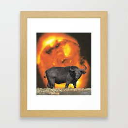 buffalo sun | 1970s SciFi Paper Collage Analog | Bison | Solar Outer Space Psychedelic Funny Framed Art Print