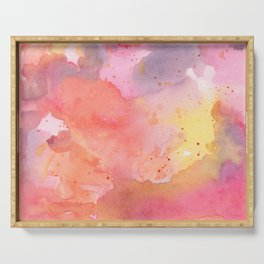 Sunset Color Palette Abstract Watercolor Painting Serving Tray