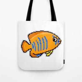 8-Bit Clarion Angelfish Pixel Art Tropical Fish Tote Bag