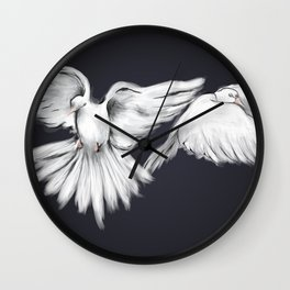 Peace in Mid-Flight (Black) Wall Clock