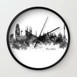 Barcelona Black and White Watercolor Skyline Wall Clock