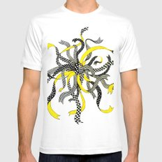 Swirling Ribbons White MEDIUM Mens Fitted Tee