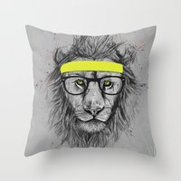 hipster Throw Pillows featuring hipster lion by Balazs Solti
