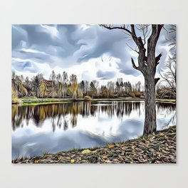 Autumn Lake Airbrush Artwork Canvas Print