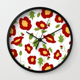 Papercut Poppies - White Wall Clock