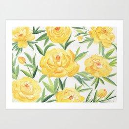 Peonies Watercolor Art Print